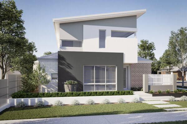 Narrow lot double storey home designs perth