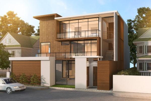 modern style wood double storey home